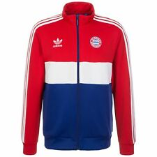 adidas Bayern Munich Track Jacket Mens Red/White/Blue Football Soccer Zip Top