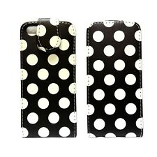 POLKA DOT STYLE LEATHER FLIP POUCH CASE COVER IN BLACK FOR APPLE IPHONE 5