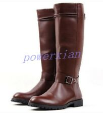 Riding Mens Military Punk Buckle PU Leather Knee High Equestrian Boots Shoes 45