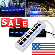 7-Ports LED USB 2.0 Hub High Speed Adapter Power On/Off Switch For PC Laptop USA