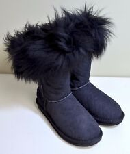 NWB Australia LUXE Foxy Shearling Short Boot in Black Quilt FSH203QT215