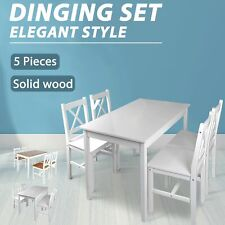 5pcs Dining Set Wooden Table Chairs Kitchen Dining Room Furniture White/Brown