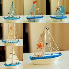 Nautical Mini Wooden Craft Sailing Boat Rudder Ship Home Desk Display Model