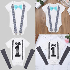 Infant Kid Baby Boys Bow Tie Suspender Romper Birthday Bodysuit Outfit Clothes