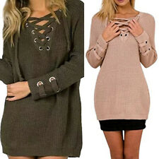Womens Long Sleeve Jumper V Neck Loose Knitted Sweater Ladies Winter Tops