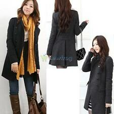 Fashion Lady Double Breasted Slim Outwear Jacket Long Casual Trench Coat 2 Color