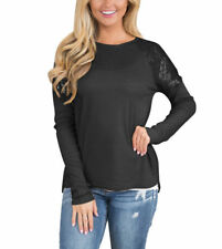 Women Asymmetric Hem Long Sleeve O-Neck T-shirt with Sequin Inserts Top Blouse