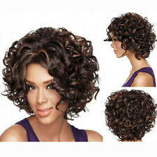 Womens Lady Short Curly Hairstyle Front None Lace Blond/Brown Synthetic Hair Wig