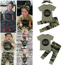 2PCS Toddler Newborn Baby Boy Girl Tops T Shirt Camouflage Pants Outfits Clothes