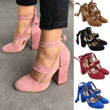 Women Block High Heels Lace Up Ankle Strap Pumps Sandals Party Office Shoes Size