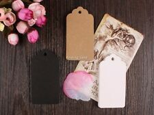 50-1000pc Brown Kraft Gift Tags Wedding Scallop Label Blank Luggage + Strings T1