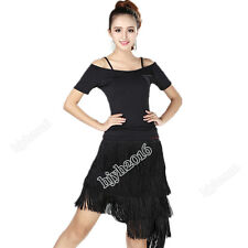 Latin Ballroom Salsa Dance Set Costume Top Blouse + Skirt Fringe Short Sleeves
