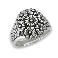 New .925 Sterling Silver Daisy Flower Fashion Ring - Sizes 6-9