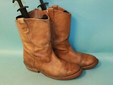 DOUBLE H MENS WORK PULL ON RANCHWELL BROWN LEATHER BOOTS SZ 10EEE