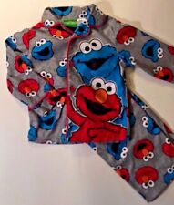 Sesame Street COOKIE MONSTER and ELMO  Flannel Pajamas Toddler Boys  3T  PJs