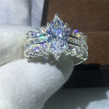 Brand Jewelry 5ct Diamonique Cz White Gold Filled Engagement Wedding band Ring