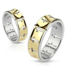 New Stainless Steel Glossy Gold IP Cut Out Cross Men Women Band Ring Sizes 5-13