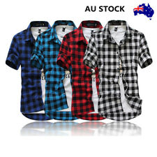 Mens Check Plaid Polo Slim Fit Short Sleeve Casual Shirt Button Collared Tops