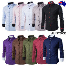 Mens Long Sleeve Slim Fit Classic Casual Quilted Shirt Solid Plaid Work Tops