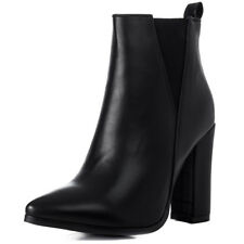 Womens Pointed Toe Block Heel Chelsea Ankle Boots Sz 5-10