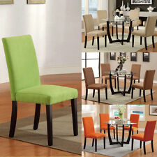 set of 6, Microfiber Parson Dining chairs 2 Saddle & 4 Hazelnut Chairs Only