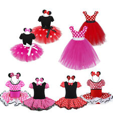 Fancy Kid Girl Costume Ballet Tutu Dress Up Cosplay Party Polka Dots Outfit Ears