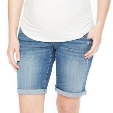 Oh Baby by Motherhood Maternity Jean Shorts Bermuda Sz S M L Blue Distressed NWT