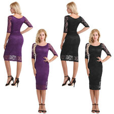 Womens Lace Bodycon Slim Evening Party Cocktail Sheath Tunic Pencil Mini Dress