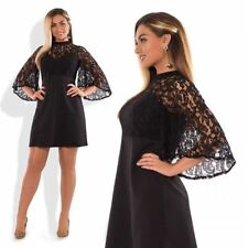 Women Plus Size Loose Round Neck Short Sleeve Lace Decorated Black Color Dress