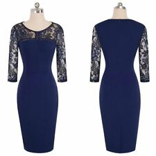 Floral Pattern Lace Mesh Fabric Patchwork Pattern Formal Wear Dress for Women