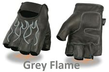 Black Leather FINGERLESS Gloves GREY FLAMES Gel Palm Motorcycle Biker Rider