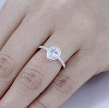 925 Sterling Silver Pear Bezel CZ Engagement Ring Wedding Band Size 3-14 SE4915