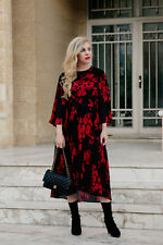 H&M Red Black Floral Pleated Midi Dress with Kimono Sleeves SIZE 10_12 EUR 36_38