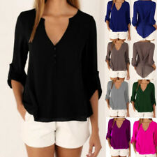 UK 6-20 Womens Spring Long Sleeve Chiffon Deep V Sexy T Shirt Blouse Loose Tops