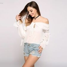 Fashion Casual Girls Solid Cut Out Long Sleeve Off the Shoulder Slash Neck Top#
