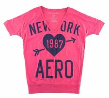 AEROPOSTALE WOMENS T-SHIRT NEW YORK LOGO GRAPHIC TOP TEE SHIRT FITTED WAIST