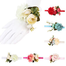 Wedding Party Wrist Corsage Bridal Bridesmaid Bracelet Hand Wrist Flowers