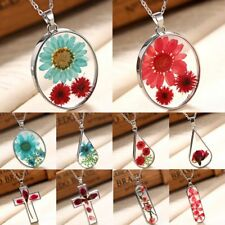 White Gold GP Natural Real Dried Flower Glass Pendant Necklace Chain Jewellery