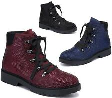 WOMENS DIAMANTE FASHION SHORT LOW HEEL LACE UP BIKER MILITARY ANKLE BOOTS SHOES