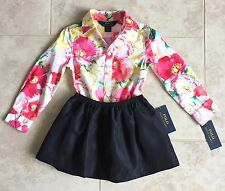 NEW POLO Ralph Lauren 3T Girls Dress Shirt Pink Flowers & Pull-on Skirt Black