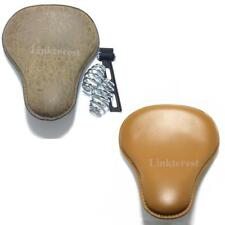 Yellow Light Brown Leather Motorcycle Spring Solo Seat For Harley Bobber Chopper