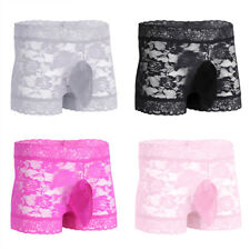 Men's Sexy Underwear See Through Lace Sissy Pouch Panty Shorts Boxer Briefs M-XL