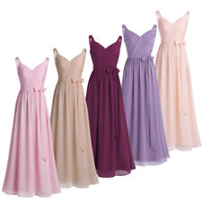 Women V Neck Chiffon Formal Prom Long Dress Evening Party Cocktail Maxi Dress