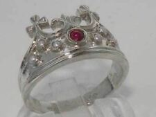 Solid Sterling Silver Natural Ruby & Pearl Coronet Crown Band Ring