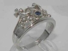 Solid Sterling Silver Natural Sapphire & Pearl Coronet Crown Band Ring