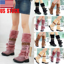 US Women Lace Up Warm Slip On Snow Boots Pom-Pom Flat Winter Mid Calf Shoes Size