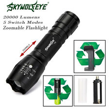 20000LM XM-L T6 5Mode Zoomable LED Flashlight & 18650Battery+Charger Torch Lamp`