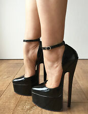 20cm Genuine Patent Leather Stiletto Platform Fetish Ankle Strap Heel Customize