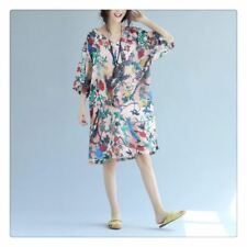 Women New Fashion Large Size Chiffon Fabric Vintage Floral Casual Loose Dress