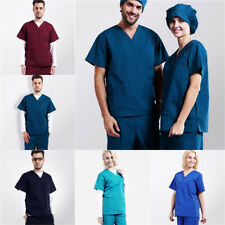 Men/Women Natural Uniforms Medical Hospital Nursing Scrub Set Top & Pants
